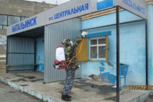 В п. Натальинск обработана остановка общественного транспорта дезинфицирующим раствором.